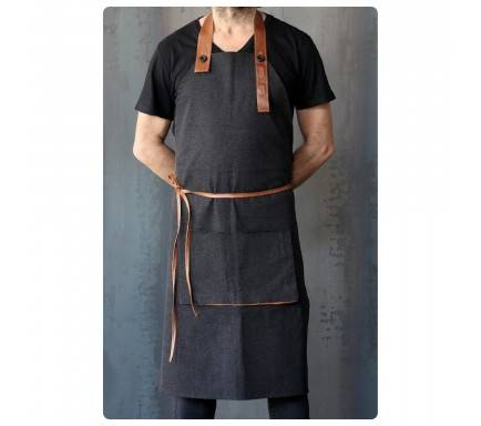 Avental/Full Lenght Apron Jean Brown Detail